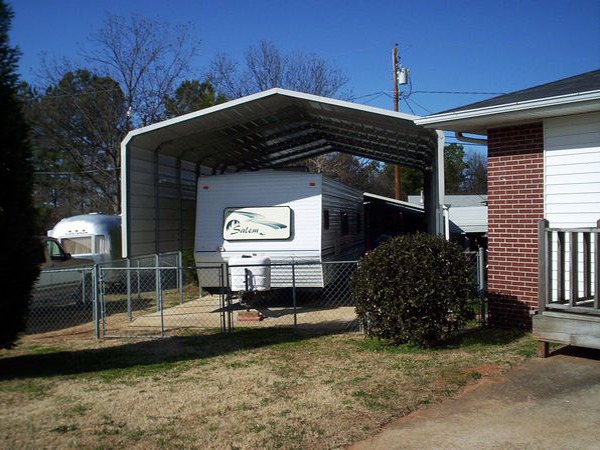 Rv covers carports carolina carports for Motorhome garage kits